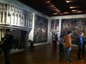 Huge stone fireplace in the unicorn tapestry room..note size of tapestries