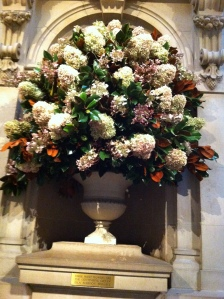 Spectacular floral arrangement at the Met entry....one of eight